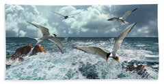 Terns In The Surf Beach Towel