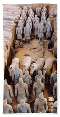 Beach Towel featuring the photograph Terracotta Army by Heiko Koehrer-Wagner