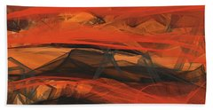 Terracotta Orange Modern Abstract Art Beach Towel