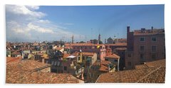 Beach Towel featuring the photograph Terracotta Rooftops by Anne Kotan