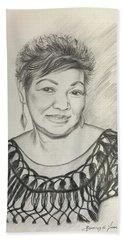 Beach Towel featuring the drawing Tessie Guinto  by Rosencruz  Sumera