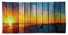 Siesta Key Drum Circle Sunset - Wood Plank Look Beach Towel