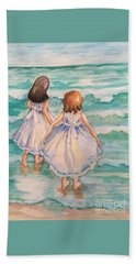 Beach Towel featuring the painting Testing The Waters by Rosemary Aubut
