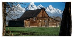 Beach Towel featuring the photograph Moulton Barn And Tetons by Scott Read
