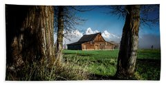 Beach Towel featuring the photograph Tetons And Moulton Barn by Scott Read