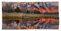 Teton Mountains Sunrise Rainbow Beach Towel