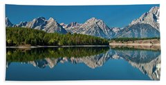 Beach Towel featuring the photograph Teton Reflections by Gary Lengyel