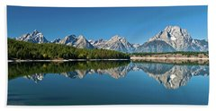 Beach Towel featuring the photograph Teton Reflections II by Gary Lengyel