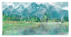 Teton Snow Reflections Beach Towel