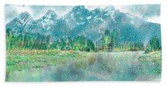 Teton Snow Reflections Beach Sheet