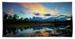 Beach Towel featuring the photograph Teton Sunset by Norman Hall