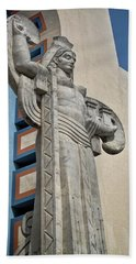 Beach Towel featuring the photograph Texas Art Deco Sculpture by David and Carol Kelly