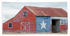 Texas Barn With Goats And Ram On The Side Beach Towel