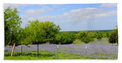 Beach Towel featuring the photograph Texas Bluebonnet Field by Kathy White