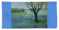 Beach Towel featuring the painting Texas Bluebonnet Trail by Robin Maria Pedrero