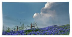 Beach Towel featuring the photograph Texas Bluebonnets And Spring Showers by David and Carol Kelly