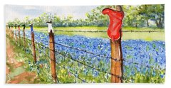 Texas Bluebonnets Boot Fence Beach Towel