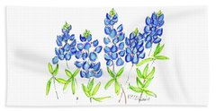 Texas Bluebonnets Watercolor Painting By Kmcelwaine Beach Towel