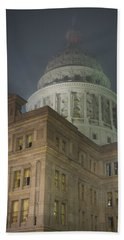 Texas Capitol In Fog Beach Sheet