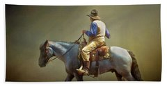 Beach Sheet featuring the photograph Texas Cowboy And His Horse by David and Carol Kelly