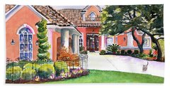 Texas Home Spanish Tuscan Architecture  Beach Towel