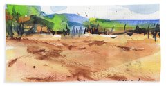 Texas Landscape In Watercolor Painting By Kmcelwaine Beach Towel