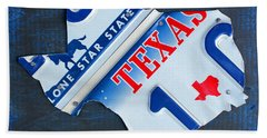 Texas License Plate Map Beach Sheet by Design Turnpike