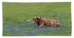 Texas Longhorn And Bluebonnets Beach Towel