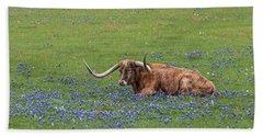 Texas Longhorn And Bluebonnets Beach Sheet