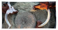 Texas Longhorn Cattle, Ft. Worth Stockyards Beach Towel