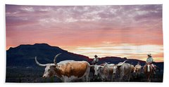Texas Longhorn Orange Morning Beach Towel