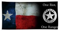 Texas Rangers Motto - One Riot, One Ranger  2 Beach Sheet by Daniel Hagerman