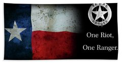 Texas Rangers Motto - One Riot, One Ranger Beach Sheet by Daniel Hagerman