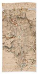 Texas Revolution Santa Anna 1835 Map For The Battle Of San Jacinto  Beach Sheet