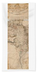 Texas Revolution Santa Anna 1835 Map For The Battle Of San Jacinto With Border Beach Sheet