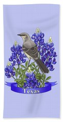 Texas State Mockingbird And Bluebonnet Flower Beach Towel by Crista Forest