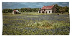Beach Towel featuring the photograph Texas Stone House by Linda Unger