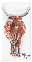 Texas Longhorn Taking The Lead Watercolor Painting By Kmcelwaine Beach Towel