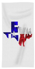 Texas Typographic Map Flag Beach Towel