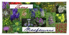 Texas Wildflower Collage Beach Towel