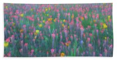 Texas Wildflowers Abstract Beach Towel