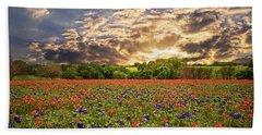 Texas Wildflowers Under Sunset Skies Beach Towel