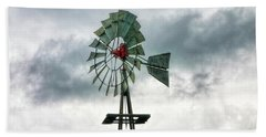Texas Windmill Beach Towel by Joan Bertucci