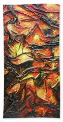 Beach Towel featuring the mixed media Texture Of Fire by Angela Stout