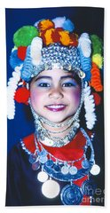 Beach Towel featuring the photograph Thai Girl Traditionally Dressed by Heiko Koehrer-Wagner