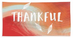 Thankful- Art By Linda Woods Beach Towel