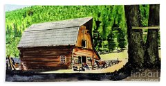 Beach Towel featuring the painting That Barn From That Movie by Tom Riggs