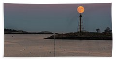The 2016 Supermoon Balancing On The Marblehead Light Tower In Marblehead Ma Beach Towel
