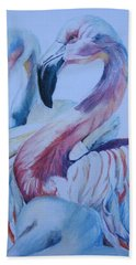 The 3 Flamingos Beach Towel