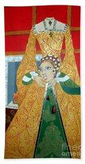 The 5th, Beheaded -- Tudor Portrait, Catherine Howard, #3 In Famous Flirts Series Beach Towel